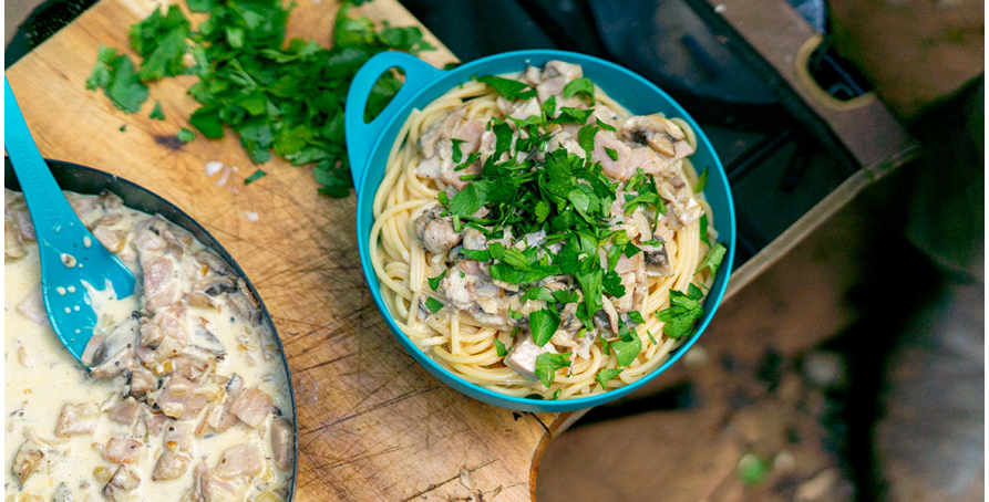 Camp Recipe: Creamy Mushroom and Bacon Pasta